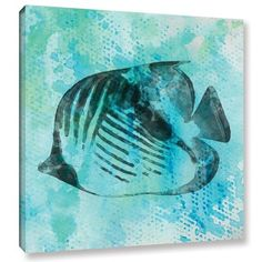 """Beachcrest Home 'Fish Emperor' Painting Print on Wrapped Canvas Size: 18"""" H x 18"""" W x 2"""" D"""