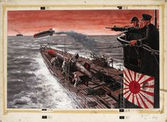 GIL COHEN - I Fired Human Torpedoes, An Enemy Sub Commander's Amazing Revelation by Mochitsura Hashimoto - Dec 1961 Stag - item by fineart. Pulp Fiction Art, Pulp Art, Adventure Magazine, Imperial Japanese Navy, Boat Art, Political Art, Japanese Poster, Military Art, Lego Military