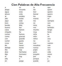 Palabras de alta frecuencia/High Frequency Words
