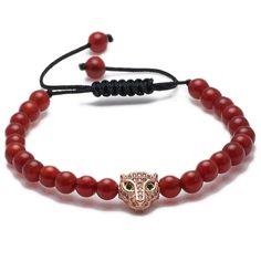 Leopard Beaded Macrame Bracelet