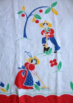 1940s 50s Simple Gardeners on Linen Tea by lostnfounddrygoods, $15.00