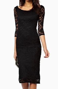 Lace Overlay Evening Midi Dress