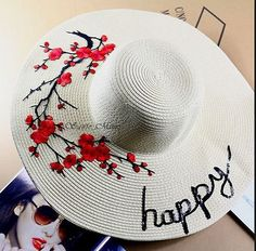 Cheap hat display, Buy Quality hat doll directly from China hat carnival Suppliers: Hat diameter of about we can customized hat as your requirement for example:happy journey Sombrero A Crochet, Painted Hats, Hat Display, Cheap Hats, Wide Brim Sun Hat, Plum Flowers, Floppy Hats, Hat Crafts, Love Hat