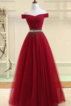 5816d0578256 2019 Tulle Prom Dresses A Line Off The Shoulder With Beading Lace Up US$  189.00