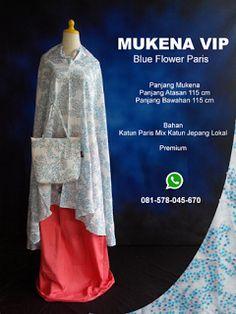 Mukena Vip Blue Flower Paris - Grosir Pesan Mukena katun jepang santung bordir batik bali murah anak