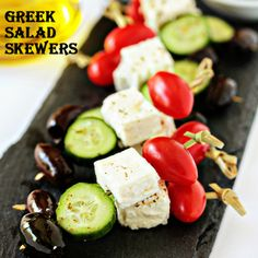 Here's a great trick to make food more fun...impale it with a stick!  People of all ages seem to gravitate to food on a skewer, toothpick, or kabob.   Greek Salad Skewers - Thread the skewers starting with a grape tomato, then a piece of cubed feta cheese, a cucumber  slice and an olive. Repeat.  Before serving, arrange skewers on a platter and drizzle with olive oil.