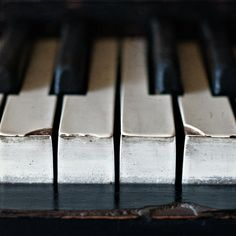 Piano, old, broken, keys, black, white, keyboard