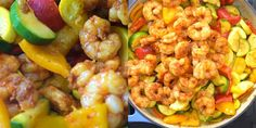 This Easy Shrimp and Vegetable Skillet makes a healthy, quick, and delicious dinner! Packed with wild-caught shrimp, tender zucchini, and sweet bell peppers Healthy Dinner Recipes, Cooking Recipes, Healthy Meals, Keto Recipes, Healthy Food, Shrimp Dishes, Shrimp Recipes, Shrimp And Vegetables, Chicken And Dumplings