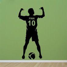 Envío Libre de Fútbol Nombre y Número Personalizado Pared del Vinilo Poster Dormitorio Arte de La Pared de Los Niños y Chico de Fútbol Etiqueta de La Pared X206(China (Mainland))