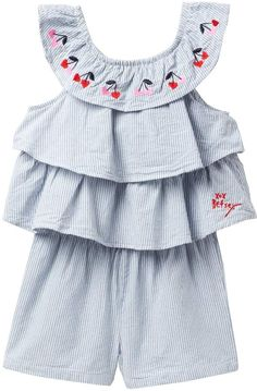 41eff5df2b Betsey Johnson Embroidered Stripe Chambray Romper (Toddler Girls)  n · Baby  Girl RomperBaby DressToddler ...