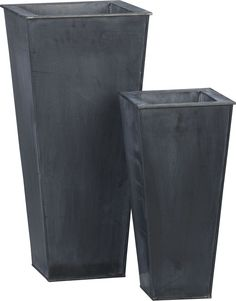 Zinc Tall Square Planters  | Crate and Barrel - these look great holding a Boston fern