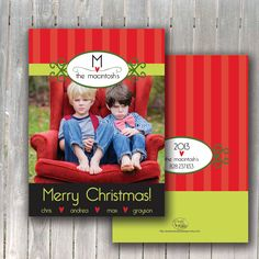 Christmas Photocard Lime and Love by paisleyandplaidpaper on Etsy, $0.20