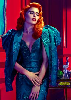 glam hotel/bar. These crazy colours are neat. Like a comic book femme fatale! I miss red hair.