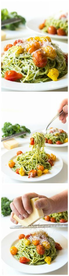 Light and fresh Kale Walnut Pesto & Blistered Tomato Pasta. A healthy vegetarian summer dinner!