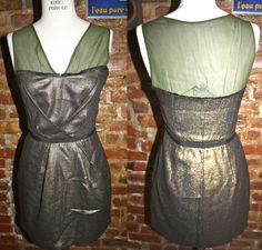 Charlotte Ronson Green/Gold Shimmer Dress ($69). Size Small.     For more information or to purchase, email thriftshare@gmail.com with the name of the item in the subject line. Or visit our website www.thriftshare.com