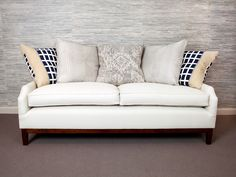Heriot Sofa - This contemporary model has soft curves to the arms with their gently notched fronts. Pictured with a scatter cushion back for a very relaxed yet stylish Sofa, Couch, Scatter Cushions, Upholstered Furniture, Furniture Collection, Curves, Arms, Contemporary, Stylish