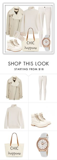 """""""white chic"""" by glamheartcafe ❤ liked on Polyvore featuring Burberry, J Brand, Vince, Timberland, Straw Studios and Rotary"""
