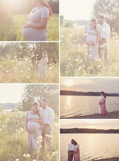 sunset maternity session - tall grass - water - sunset