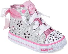 f01187ea0724 Skechers Twinkle Toes Shuffles Fancy Fave Toddler Girls  Light-Up Shoes