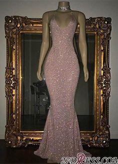 Mermaid Stunning Spaghetti-strap Sequined Sleeveless Long Prom Dress #dressesprom