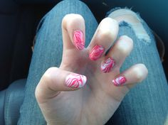 Red and white water marble nails
