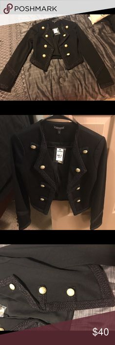 Express Military Jacket NWT. Black jacket with gold buttons. Never been worn! Express Jackets & Coats Blazers