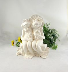 Ceramic Ready to Paint Two Frogs Sitting on a Bench - 10 inches -bisque, indoor or outdoor, lawn or garden by aarceramics on Etsy