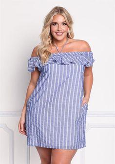 Plus Size Clothing | Plus Size Off Shoulder Pinstripe Shift Dress | Debshops