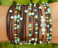 TURQUOISE Custom Boho Leather Wrap Bracelet - Leather Triple Wrap Bracelet w/ Picasso Miyuki / Tibetan Style accents - Pick SIZE / COLOR 89