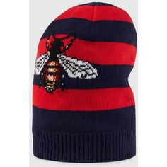 Gucci Striped Wool Hat With Embroidered Bee ($700) ❤ liked on Polyvore featuring accessories, hats, bumblebee hat, gucci, wool hat, bumble bee hat and stripe hat