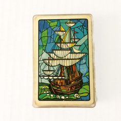 Vintage Stained Glass Boat Playing Cards by Whitman Tall Ship High Masts Wooden Boat Pirate Ship by ThriftyTheresa