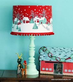 DIY Vintage Tablecloth Covered Christmas Lampshade - My So Called Crafty Life