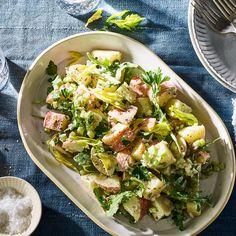 No mayo, creamy potato salad. Dressing is made with tahini. Vegetable Sides, Vegetable Recipes, Vegetarian Recipes, Cooking Recipes, Healthy Recipes, Lunch Recipes, Summer Recipes, Healthy Snacks, Potato Salad No Mayo