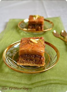 Turkish baklava with nuts and dripping from honey....