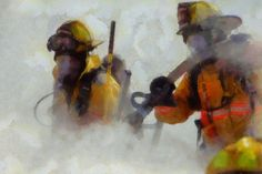 Print Firefighter Acrylic Painting nyc fdny truck fireman