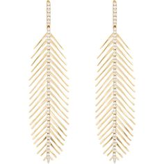 Sidney Garber Flexible Feather Earrings (56.515 VEF) ❤ liked on Polyvore featuring jewelry, earrings, colorless, drop hoop earrings, pave hoop earrings, clear earrings, clear drop earrings and feather jewelry