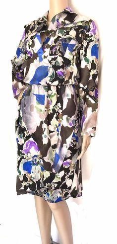 Dries Van Noten Floral 100% Silk Dress - Size 42 - US Size 12 - EUC #DriesVanNoten #ShirtDress