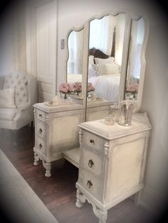 Antique White Vanity, Vintage, Cottage, French Country, Hand Painted, Annie Sloan Chalk Paint, Dressing Table, Dresser, Make-up Mirror by marian
