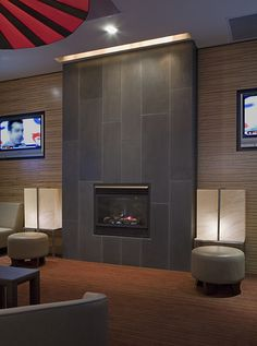 Contemporary Tile Fireplace Designs | Cast Concrete Tiled Fireplace in Portobello by Solus Decor