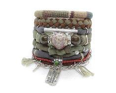 Tree of Life Oatmeal Gypsy Bracelet Clear Mountain Quartz Bohemian Jewelry  Boho Style Bracelet Bridal Hippie Layering Boho Bracelet Set e2c3386c3e4