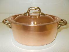 Oval French Copper Faitout Casserole Pot with by SeriouslyGorgeous