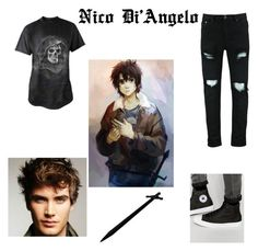 """""""Nico Di'Angelo"""" by glitter41 ❤ liked on Polyvore featuring art, Halloween, fandom and lgbtqia"""