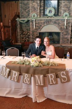 "Head Table, I love the ""Mr & Mrs"". Cute with wood letters too"