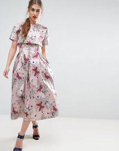 ASOS SALON Enchanted Jacquard Midi Prom Dress with Crop Top Jacket