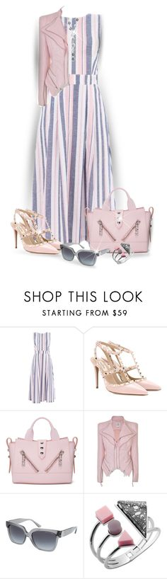 """""""Stripe Dress"""" by lorrainekeenan ❤ liked on Polyvore featuring Warehouse, Valentino, Kenzo, Forever Unique, Michael Kors and Mikimoto"""