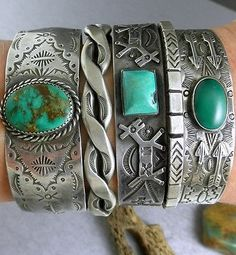 CHISELED-STAMPED-Vintage-OLD-Pawn-Green-Royston-Turquoise-Ingot-Cuff-Bracelet