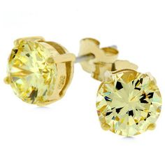 Yellow Gold CZ Stud Earrings