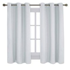 NICETOWN Window Treatment Heat Insulated Grommet Room Darkening Curtains Bedroom Curtains panels, 42 by platinum-gray-white) white bedroom