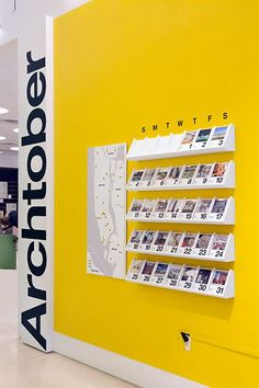 Archtober 2015 – Identity and exhibition design for the annual festival celebrating architecture and design in New York City. – Brand Identity, Exhibition Design – The festival calendar is made of collectible cards that feature each Building of the Day. Display Design, Booth Design, Store Design, Wall Design, Design Design, Event Design, Exhibition Display, Exhibition Space, Exhibition Stands