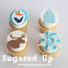 Frozen Fondant Cupcake Toppers by Sugared Up Frozen Fondant Cake, Disney Frozen Cupcakes, Olaf Cupcakes, Frozen Cupcake Toppers, Disney Frozen Party, Fondant Cupcake Toppers, Frozen Cake, Cupcake Cookies, Frozen Frozen
